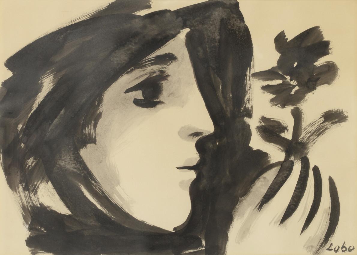 Baltasar Lobo, Profil de femme à la fleur, 1957