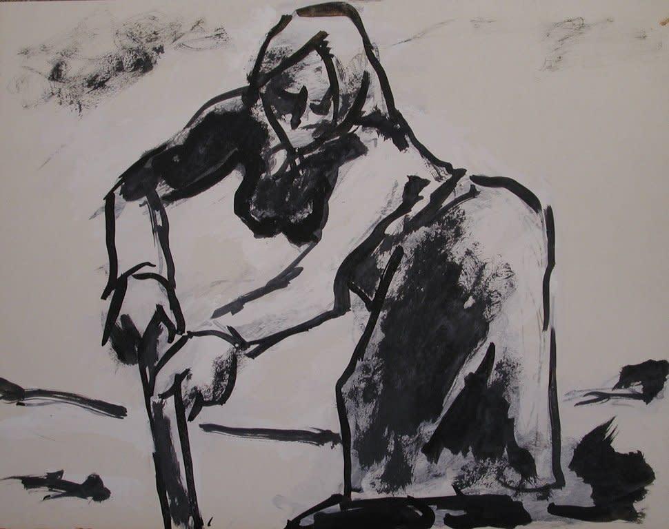 Josef Herman, Woman in the fields, 1968