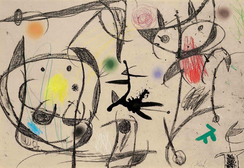 Joan Miro, Personnages et oiseau, 1975