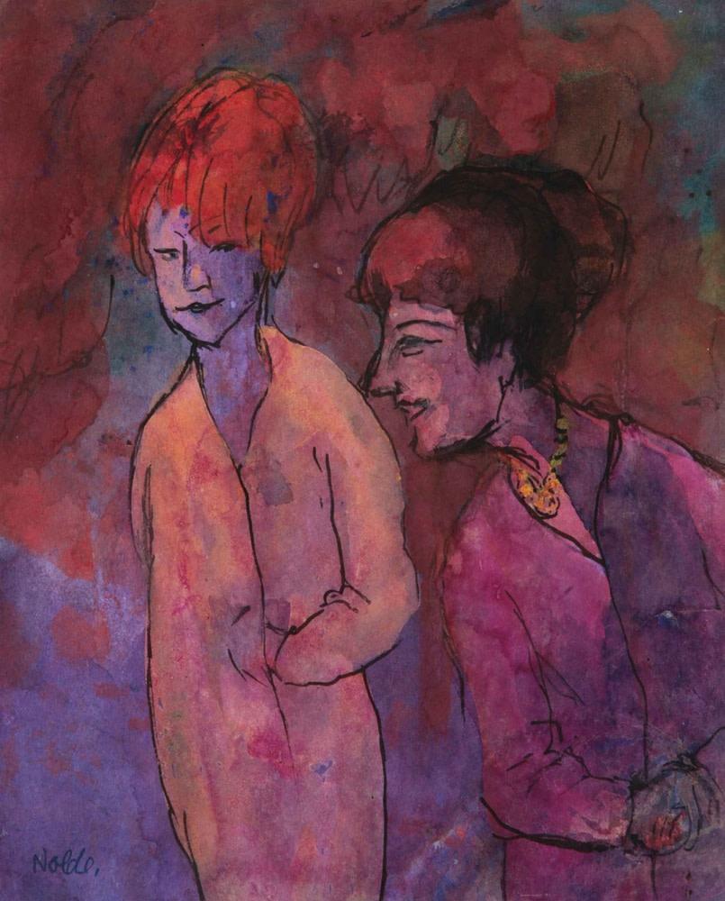 Emil Nolde, Zwei Frauen, rotviolett, 1938-45