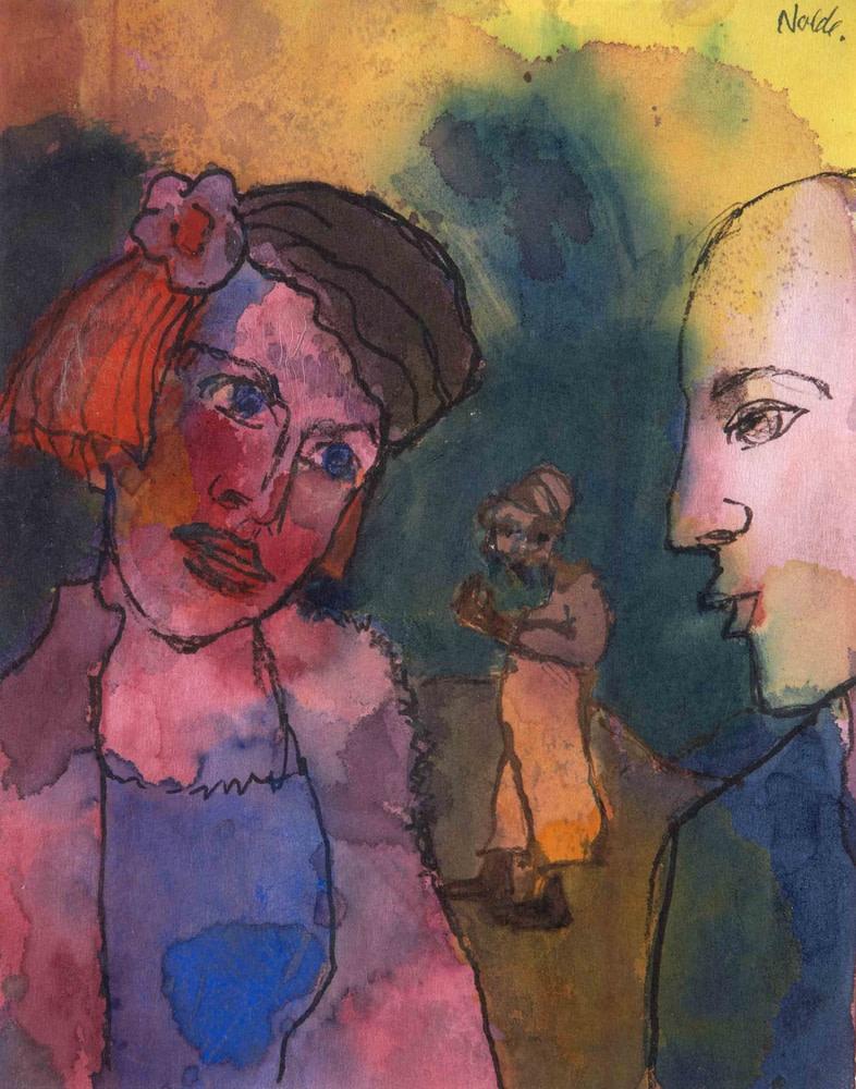 Emil Nolde, Seltsames Paar und Figur im Hintergrund, 1938-45