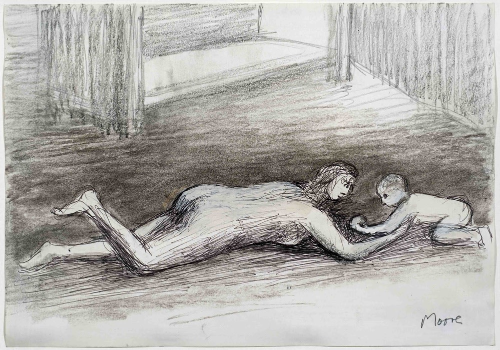 Henry Moore, Mother playing with child on floor I, 1982