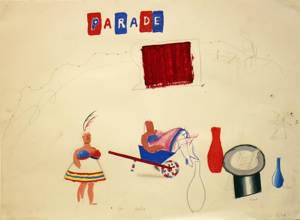 """David Hockney, Fat Lady from """"Parade Triple Bill"""", 1980"""