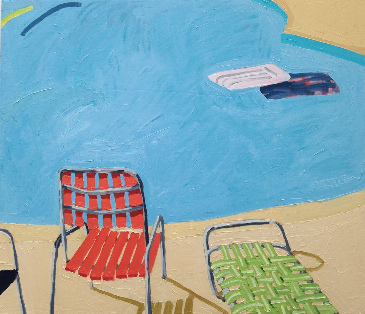 Sophie Treppendahl, Pool Chairs, raft and a yellow noodle, 2018