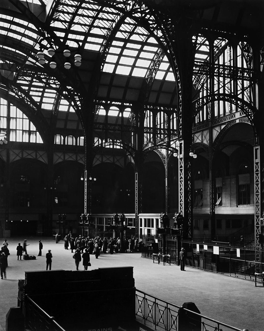 "Berenice Abbott 1898-1991Penn Station, New York City, 1936 (Printed 1970's) Signed in pencil on recto. Stamped on verso. Gelatin Silver Print Image - 10.75""x13.5"", Mounted - 16""x20"", Matted - 20""x24"""