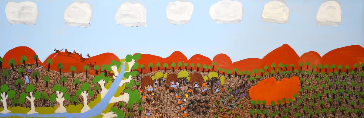 Grace Kemarre Robinya Two Shot Kangaroo acrylic on linen 39.5 x 119.5 cm