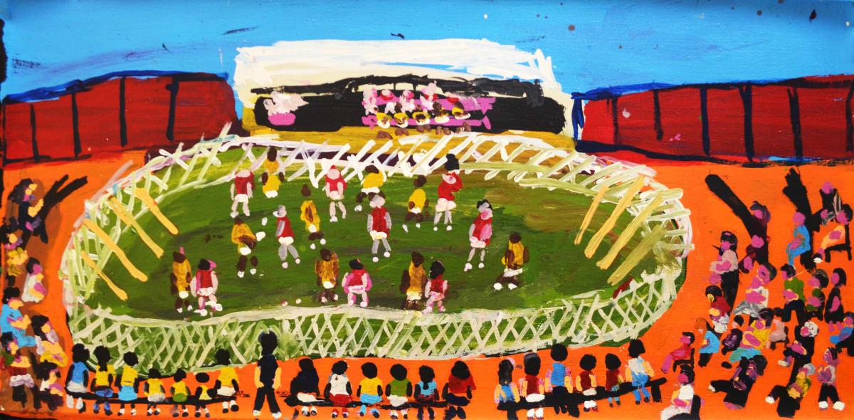 Sally M Mulda Football! acrylic on linen 45.5 x 90 cm