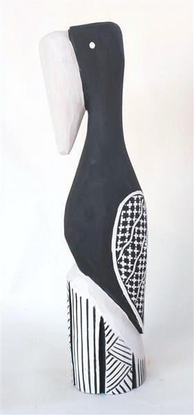 Nicholas Mario Tokwampini, the bird. ironwood with natural ochres 52 cm