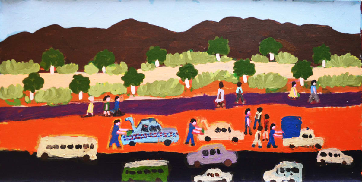 Sally M Mulda Police chasing the car with the grog acrylic on linen 90 x 45 cm