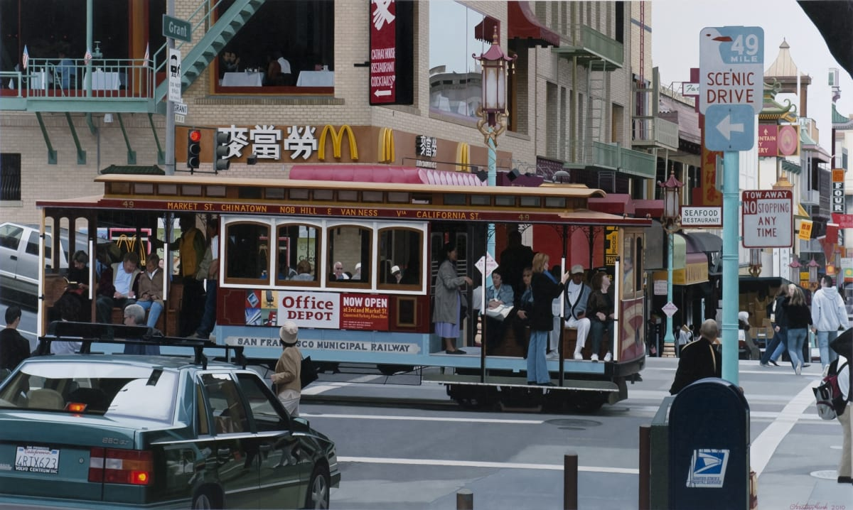 "Christian Marsh Chinatown cable car, San Francisco Oil on canvas 47 x 79"" 120 x 200 cm"