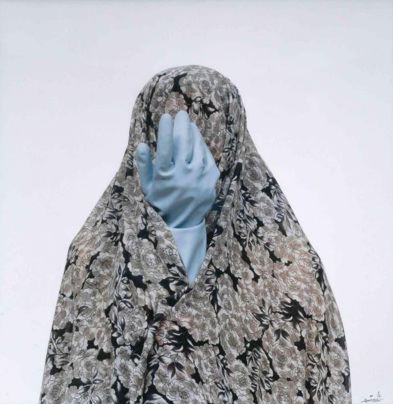 Shadi GHADIRIAN, Like everyday (domestic Life) #62 (blue rubber glove), 2001