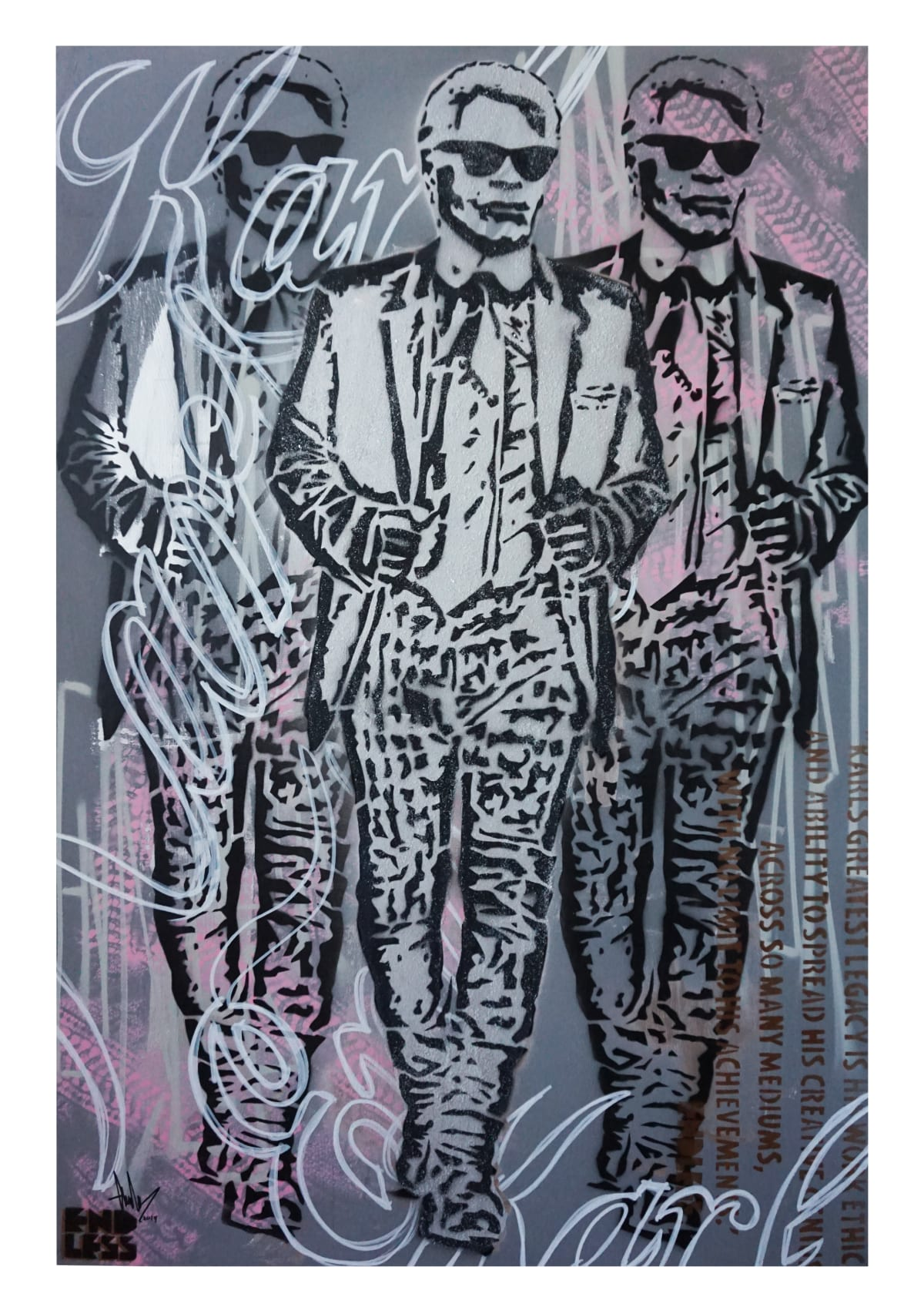 endless Karl Suited and Booted, 2019 Mixed Media on Canvas 150 x 100 cm 59.06 x 39.37 in