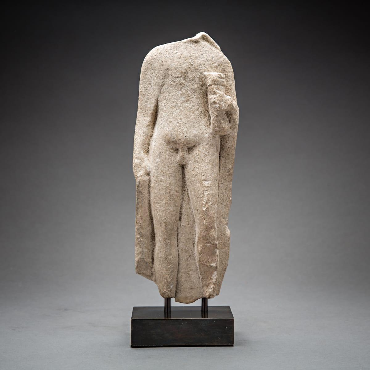 Hellenistic Torso, 300 BCE - 100 BCE Limestone 27.8 x 10.5 cm 11 x 4 1/8 in
