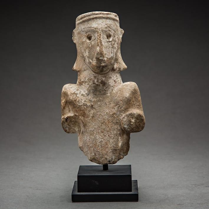 Sabean Idol of the Lady of ad-Dali, 100 BCE - 100 CE Alabaster 18 x 10 cm 7 1/8 x 4 in