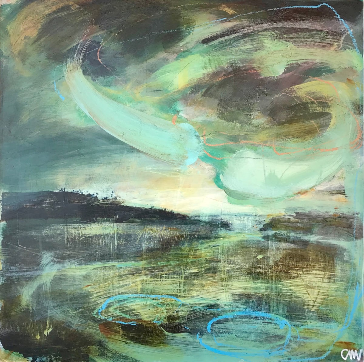 Clare Maria Wood Winter Seas IV, 2019 Mixed Media Painting 50 x 50 x 5 cm 19 3/4 x 19 3/4 x 2 in