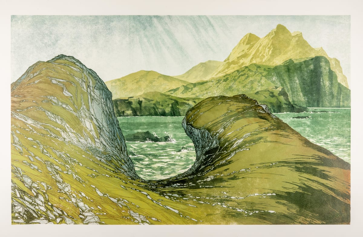 Laura Boswell Rain And Light, West Coast, 2019 Linocut 81 x 50 x 3 cm 31 7/8 x 19 3/4 x 1 1/8 in Edition 1 of 15