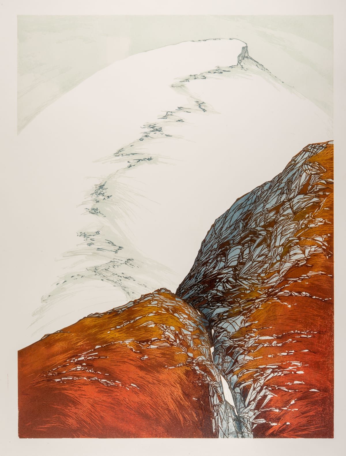 Laura Boswell Red Falls, 2019 Linocut 44 x 59 x 3 cm 17 3/8 x 23 1/4 x 1 1/8 in Edition 4 of 13