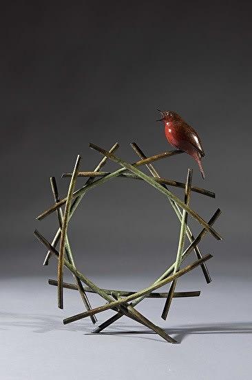 Simon Gudgeon Green Tunnel Robin, 2018 Bronze Sculpture 11 3/4 x 11 3/8 x 3 1/2 in 30 x 29 x 9 cm Edition 2 of 12