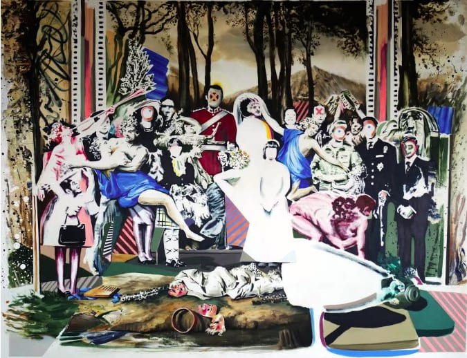 Darren Coffield Feast of Pan [After Poussin's The Triumph of Pan], 2018 Acrylic on canvas 121 x 182 cm
