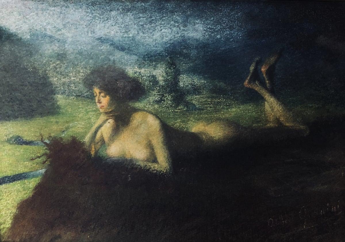 """Albert Jean Wilhelm Gianini Contemplation, circa 1900 Pastel sur toile 23,5 x 32 cm Signé en bas à droite et titré """"Contemplation"""" sur le chassis"""