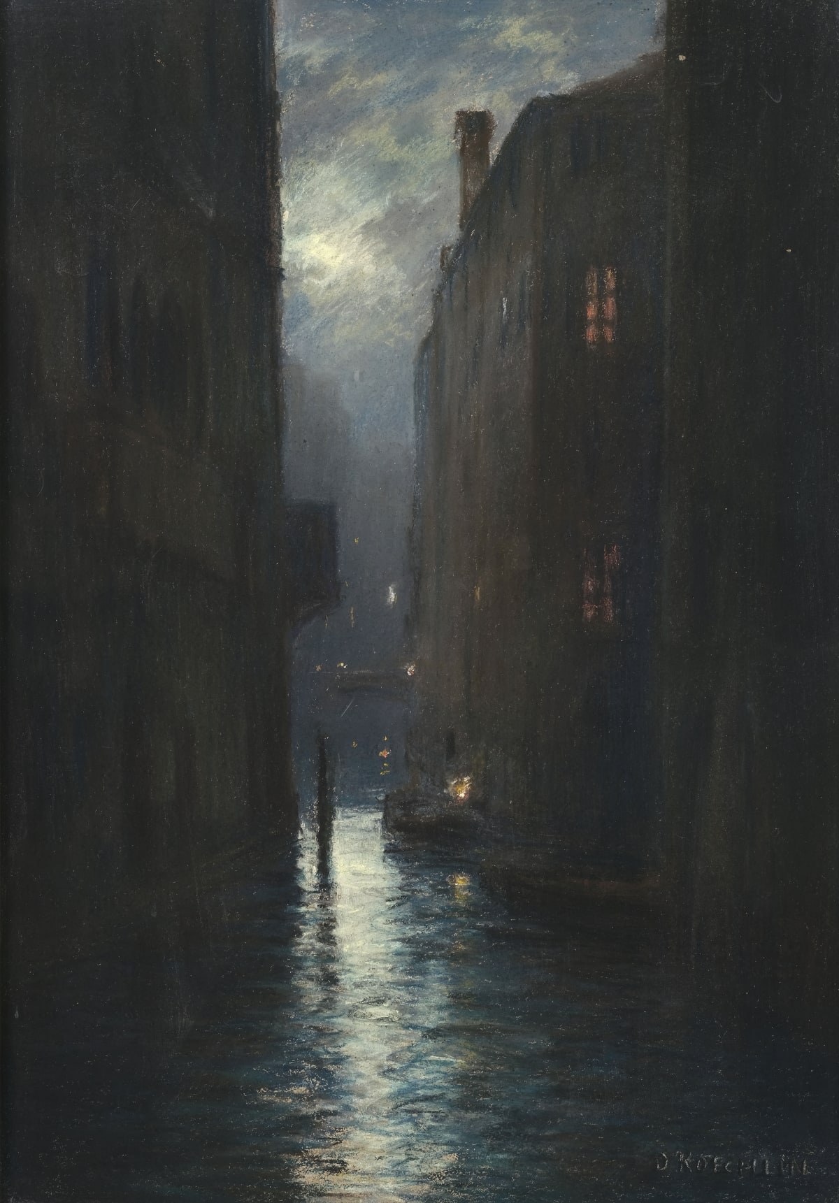Daniel Koechlin Venise au crépuscule, circa 1900 Pastel 64 x 45 cm Signé en bas à droite