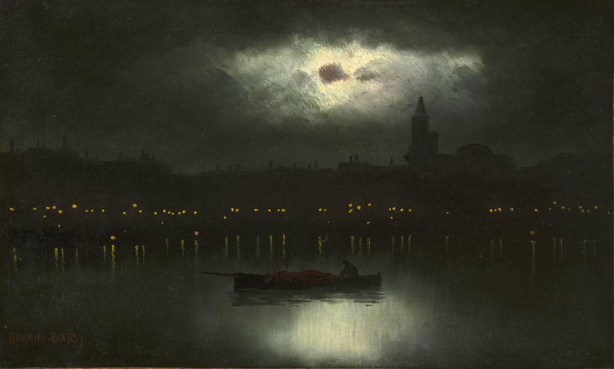 Gabriel Biessy Barque dans la nuit, circa 1900 Huile sur toile (rentoilé) 25 x 39,5 cm Signé en bas à gauche