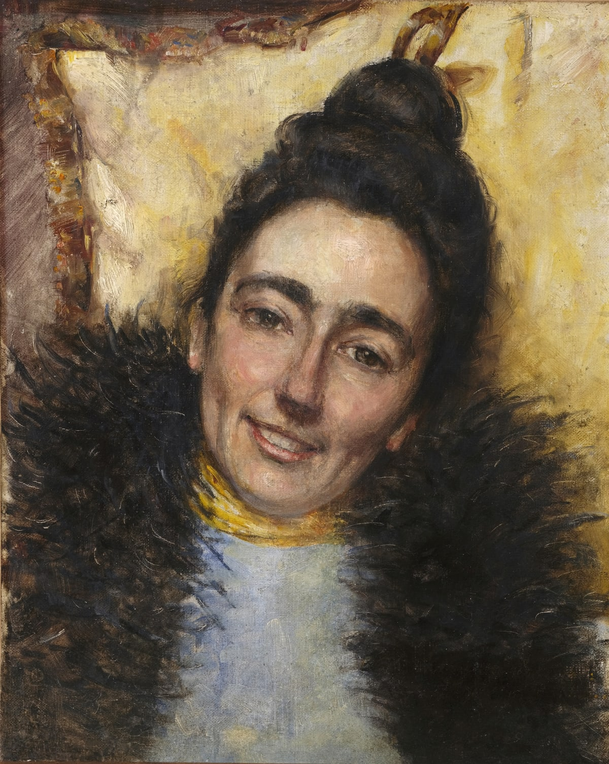 Ecole française de la fin du XIXème siècle Jane Avril, 1893 Huile sur toile 41 x 33,5 cm Annoté et daté sur le chassis, « Moulin Rouge Jane avril 1893 »