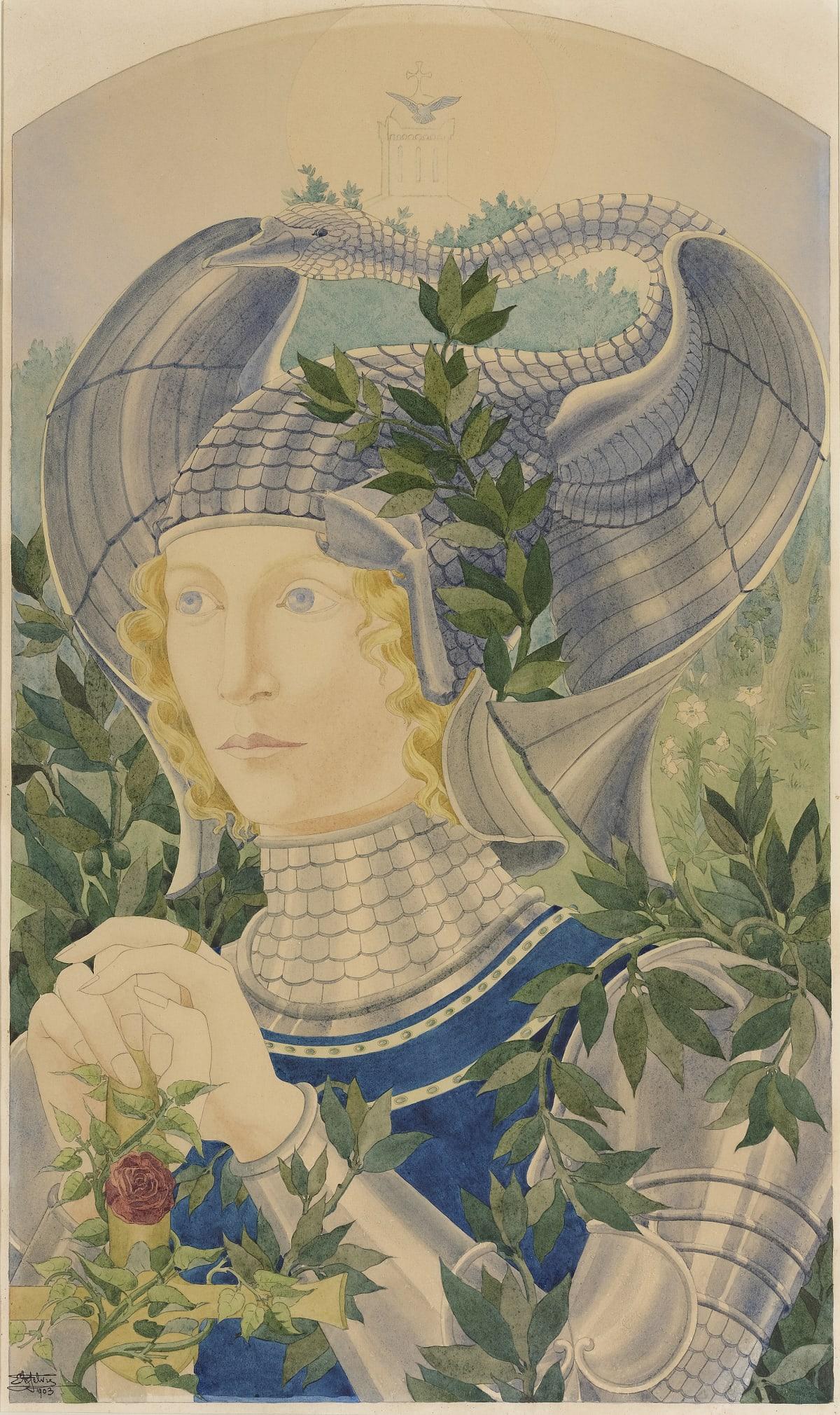 E. Lefebvre Lohengrin, Le Chevalier Au Cygne, 1903 Aquarelle 55 x 33 cm Signé et daté en bas à gauche