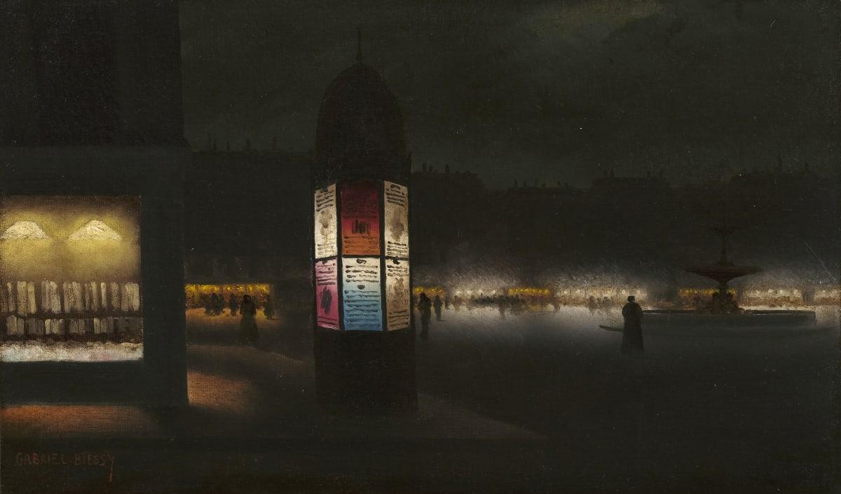 Gabriel Biessy Colonne Morris, Nocturne parisienne, circa 1900 Huile sur toile (rentoilé) 25 x 39,5 cm Signé en bas à gauche