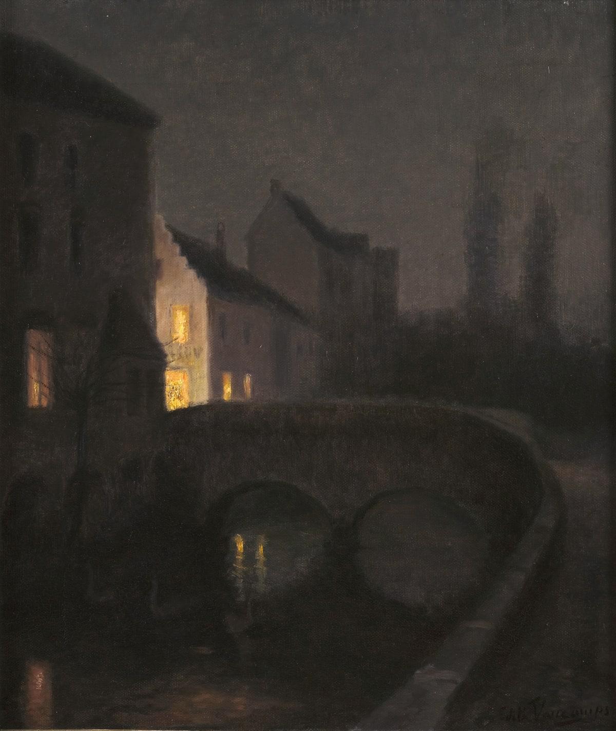 Edith Vaucamps Bruges la nuit, circa 1900 Huile sur toile 60 x 50,5 cm Signé en bas à droite