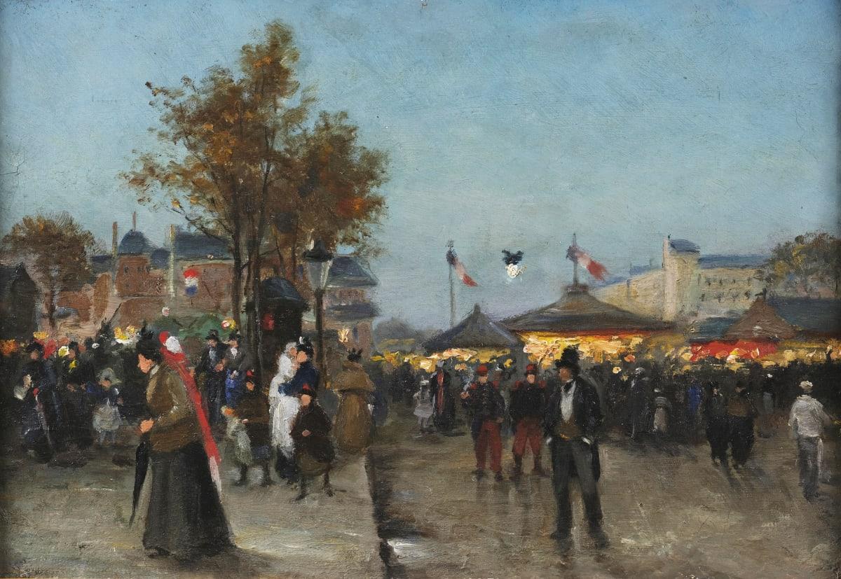 Louis Abel-Truchet (Attribué à) Kermesse, Paris Huile sur carton 24 x 35 cm