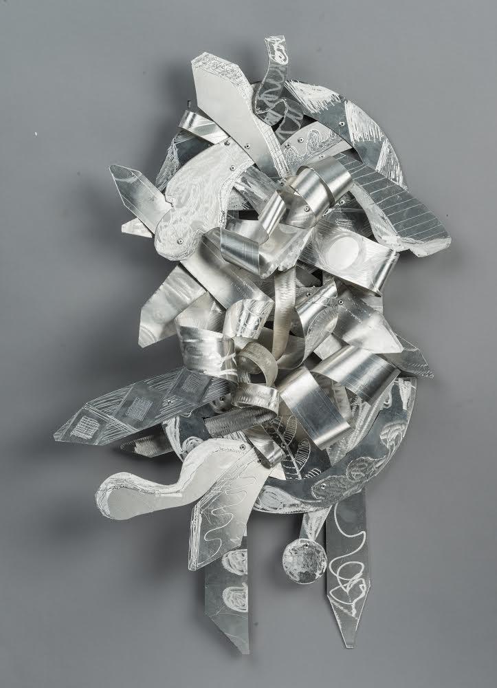 Kevin Cole Unfamiliar Steps, 2017 Etched Aluminum 24 x 40 x 9