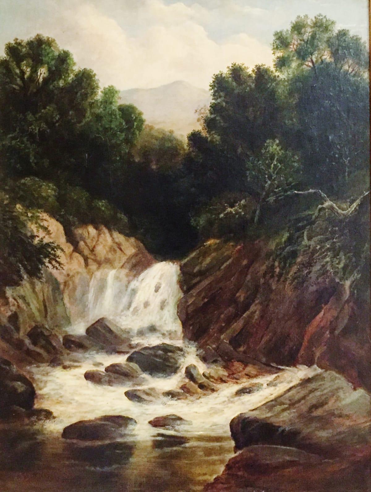 Robert Scott Duncanson Landscape (Waterfall with Rock Lion Formation), c. 1865 Framed: 31 3/4 x 25 3/4 x 2 1/4 Unframed: 24 x 18