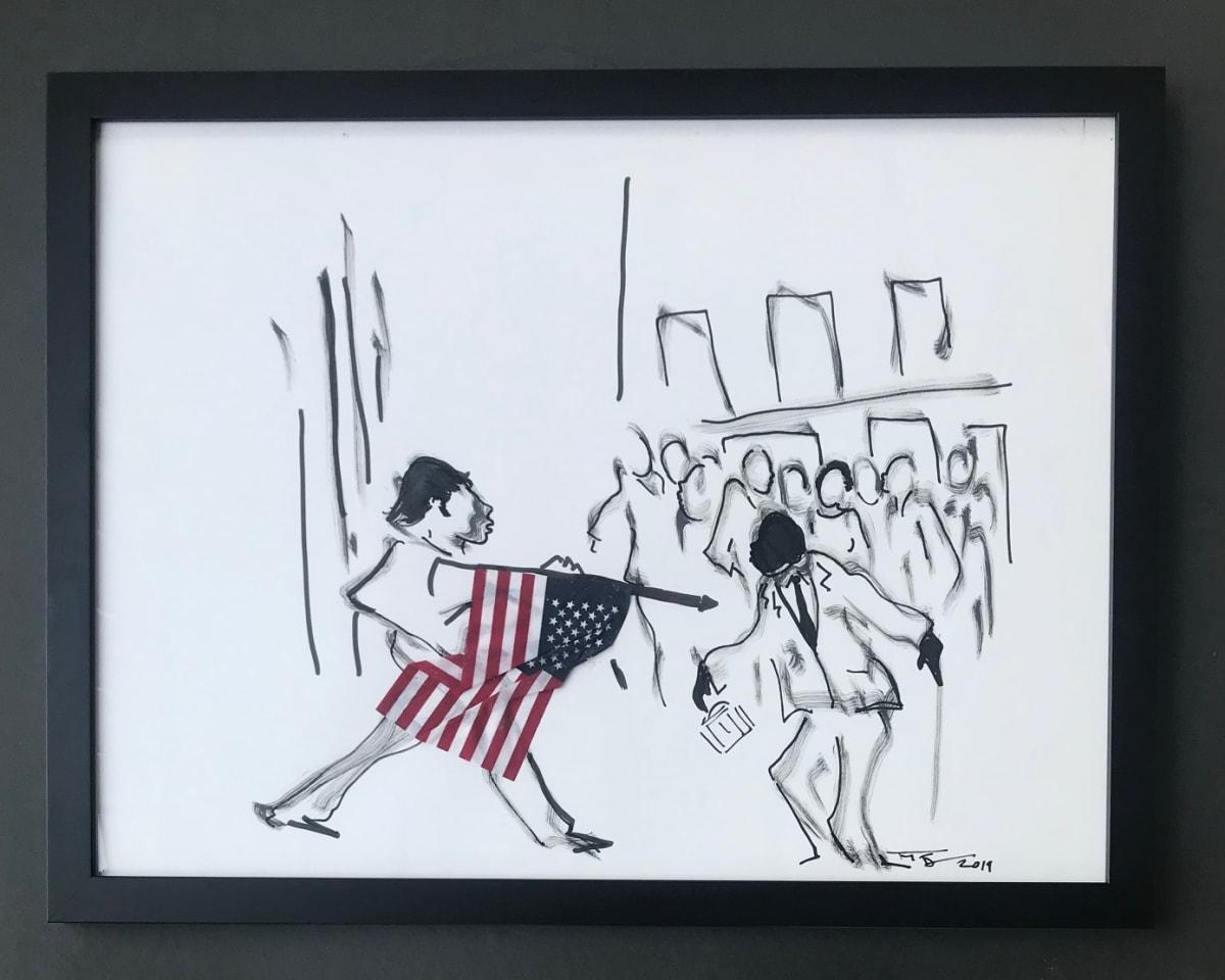 Frank Frazier Tryin' To Kill A Landmark , 2019 Shoe Polish 21 1/2 x 28