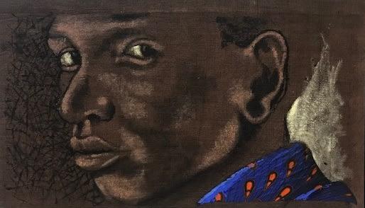 Crawford Mandumbwa Looking Back Acrylic and Mixed Media on Burlap 35 x 60