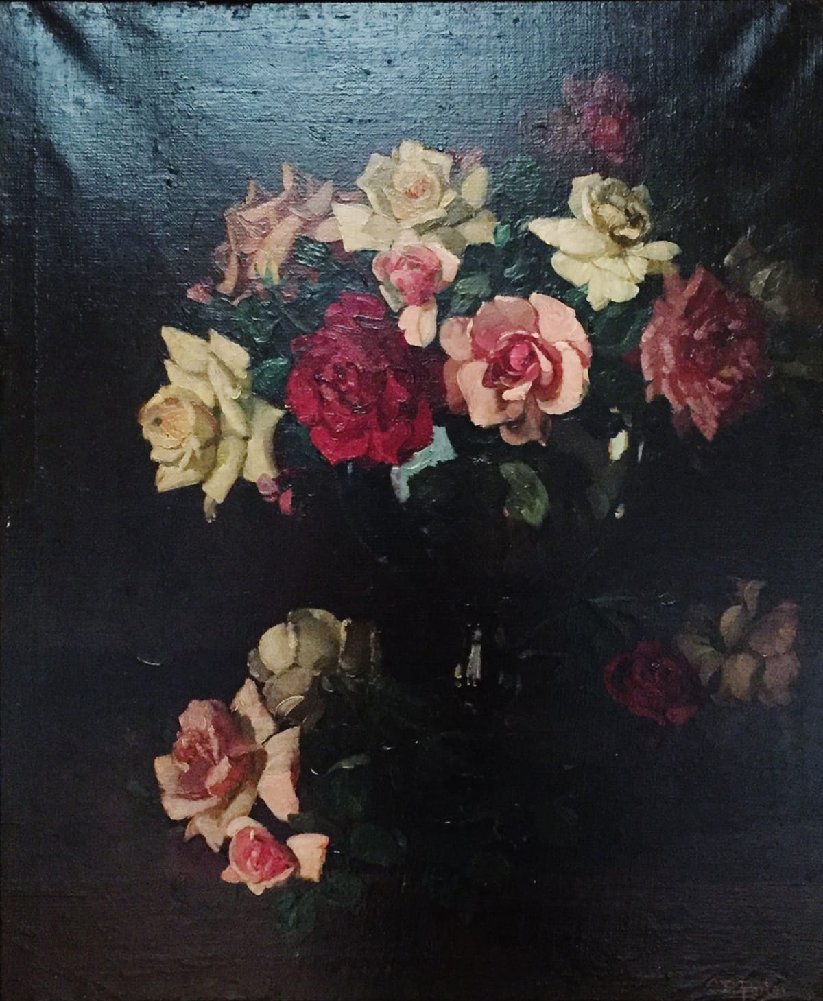 Charles Ethan Porter Untitled, (White and Pink Roses with Center Red Rose), 1850 Oil on Canvas Framed: 29 1/2 x 25 1/2 x 2 Unframed: 24 x 20