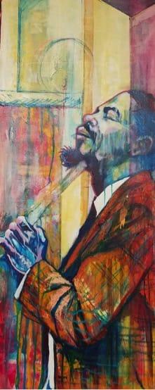 "Rex Deloney Dolphy Acrylic on Canvas 16"" x 40"""
