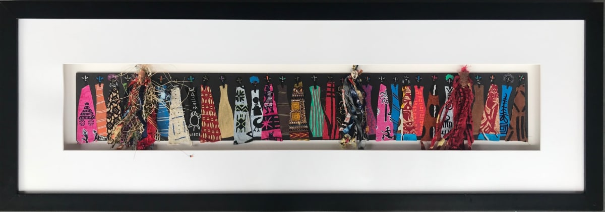 Frank Frazier Omari , 2019 Mixed Media Collage 18 x 52 1/4