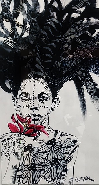 Charly Palmer In Her Blackness Mixed Media on Paper 44 1/2 x 28