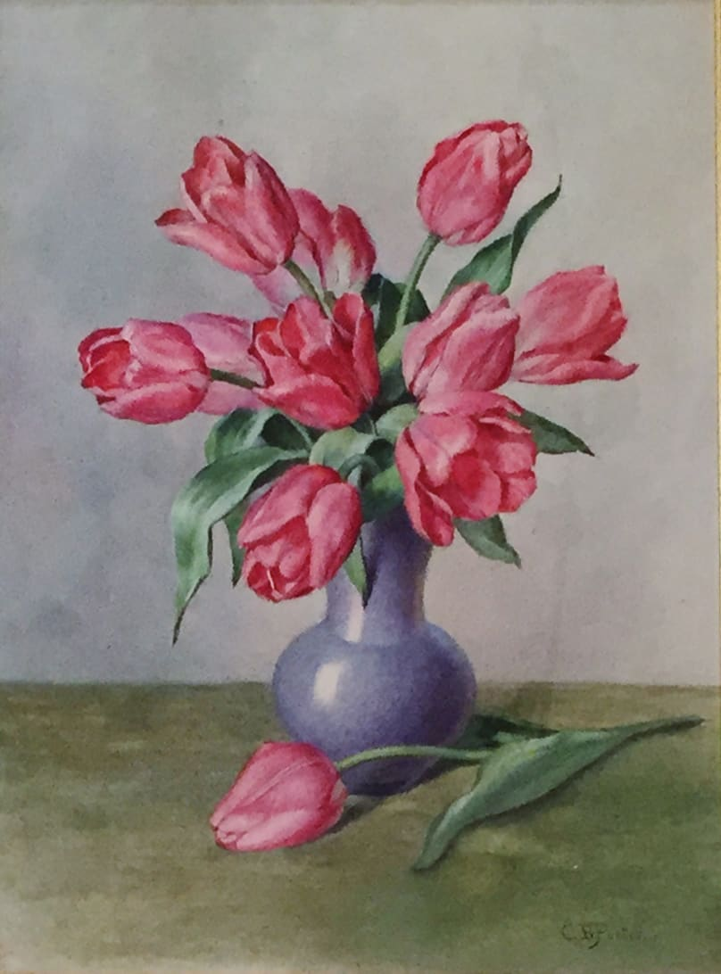 Charles Ethan Porter Untitled (Still Life-Tulips in Purple Vase), c.1882 Watercolor on Board 15 x 10 3/4