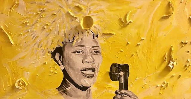 Fanta Celah Ella Fitzgerald Acrylic and Mixed Media on Canvas 18 x 36