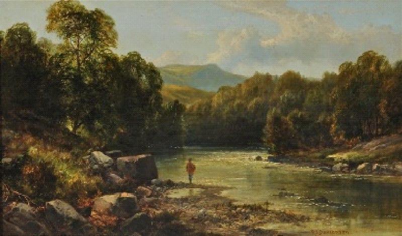 Robert Scott Duncanson Man Fishing, c. 1851 Oil on Canvas Framed: 18 1/2 x 27 x 3 Unframed: 12 x 20