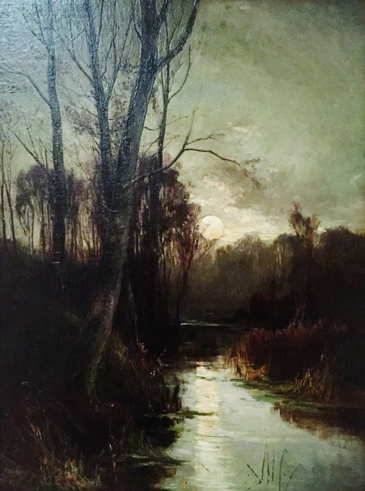 Charles Ethan Porter Landscape (Trees with Lit Stream), 1879.0 Oil on Canvas 24 1/2 x 18