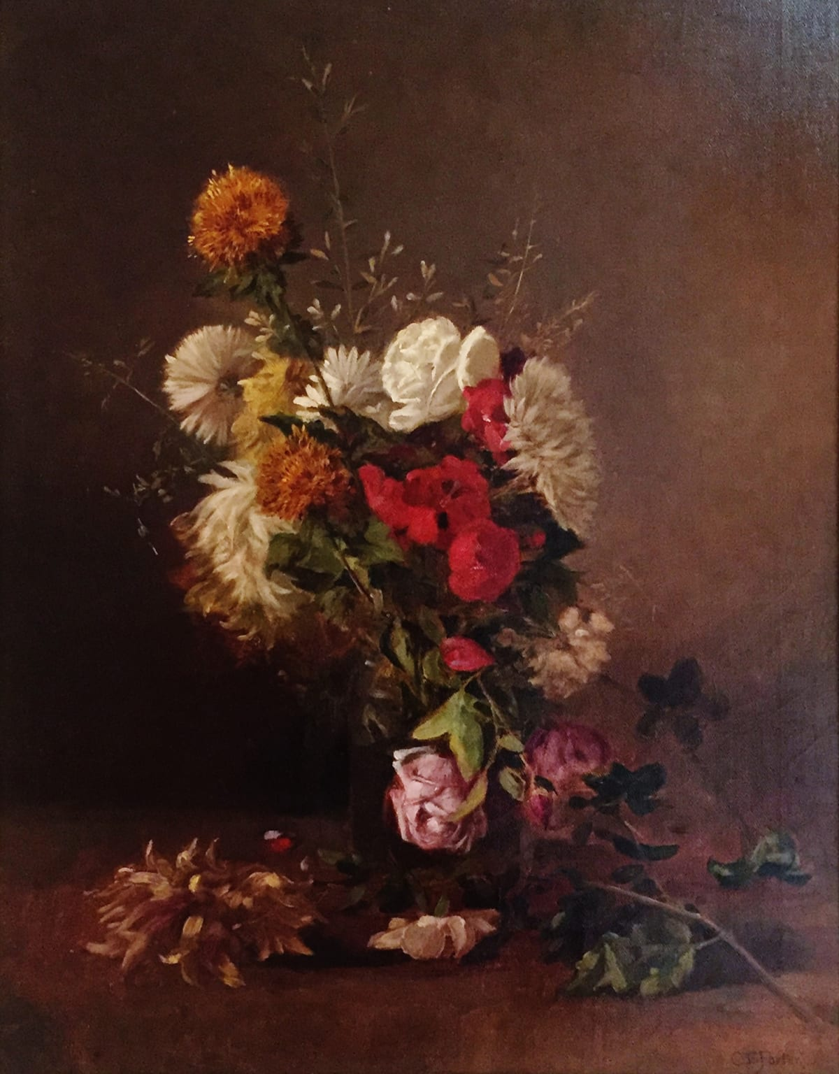 Charles Ethan Porter Florae - Mixed Bouquet Roses in Clear Vase Canvas Pasted to Board Framed: 22 x 27 x 2 1/2 Unframed 18 x 24
