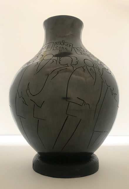 Frank Frazier Vase I: Civil Rights, 2019 Raku Clay Vase 9 x 12 x 12