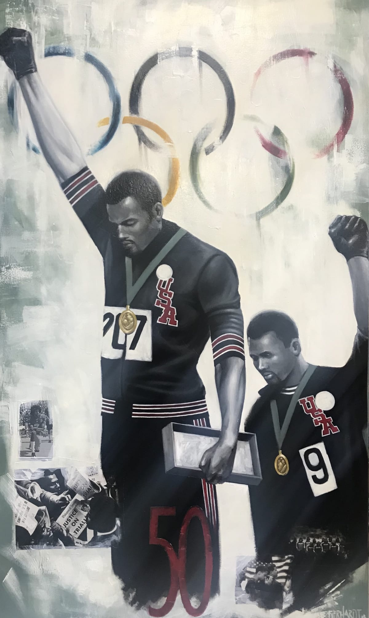 Curtis Gerhardt 50 Years Protest, 2019 Oil on Canvas 36 x 60
