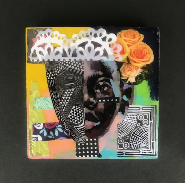 Charly Palmer Africa In Our Faces III Mixed Media on Board 6 x 6