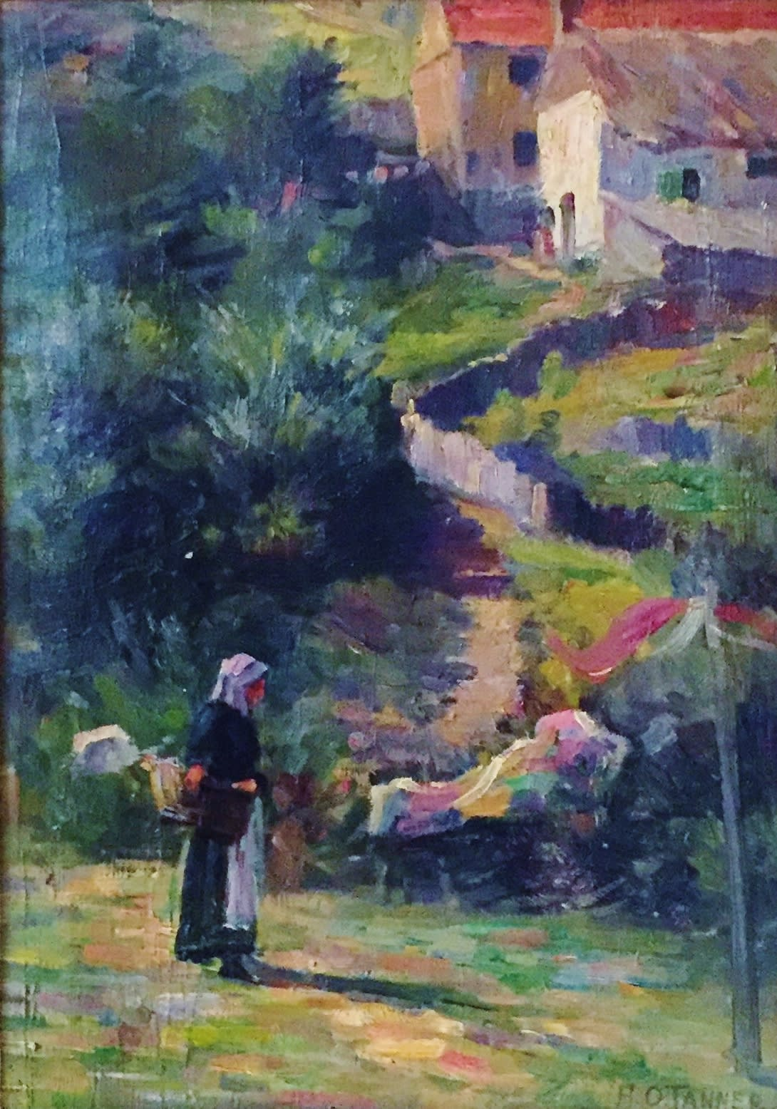 Henry Ossawa Tanner Untitled, Landscape with female figure, c. 1888 Oil on Canvas Framed: 17 x 21 x 1 3/4 Unframed: 14 x 10