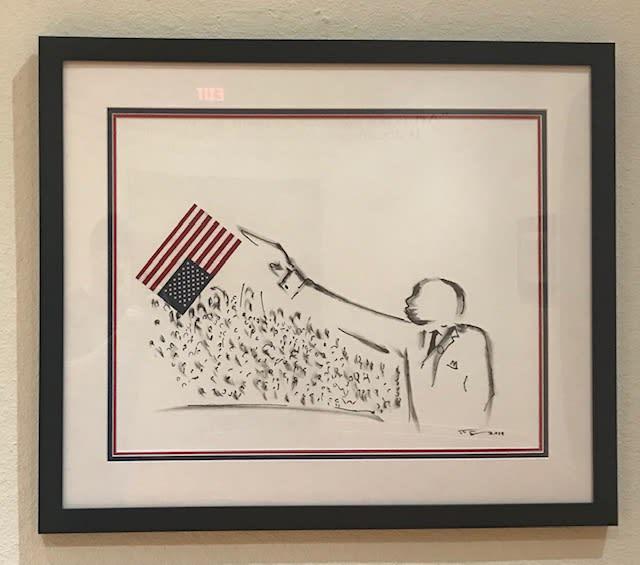 Frank Frazier Extending the Bullshit (Where is the Freedom?), 2019 Shoe Polish 28 x 22
