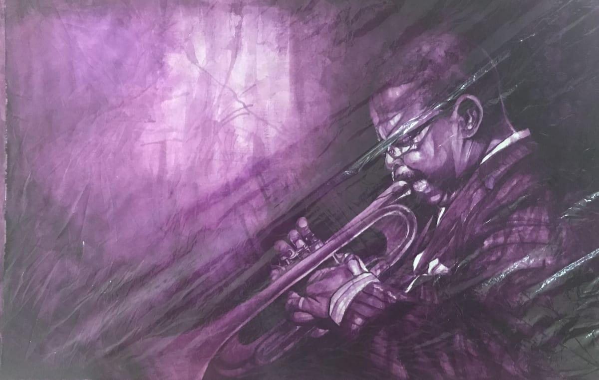 Rex Deloney In a Violet Mood Watercolor 21 x 32